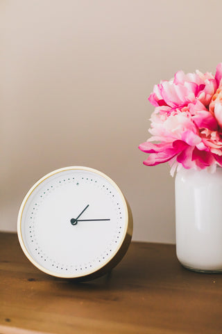 Clock with pink flowers
