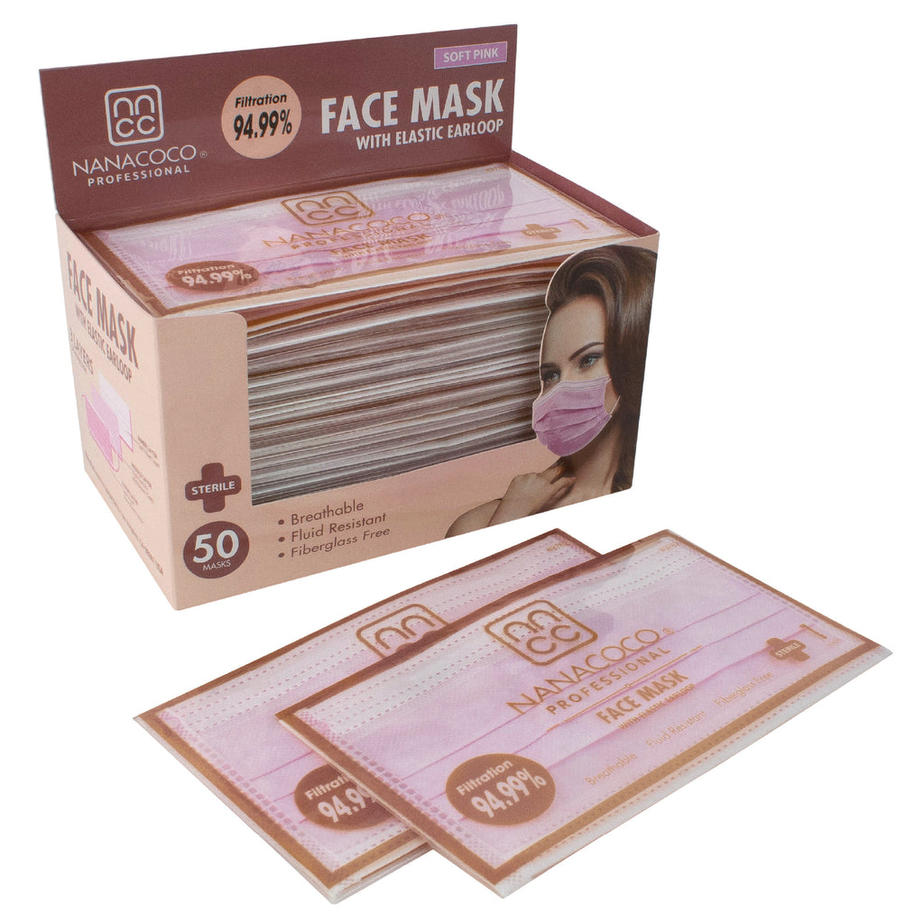 Nanacoco Pro Face Mask Individually Wrapped 50ct Soft Pink
