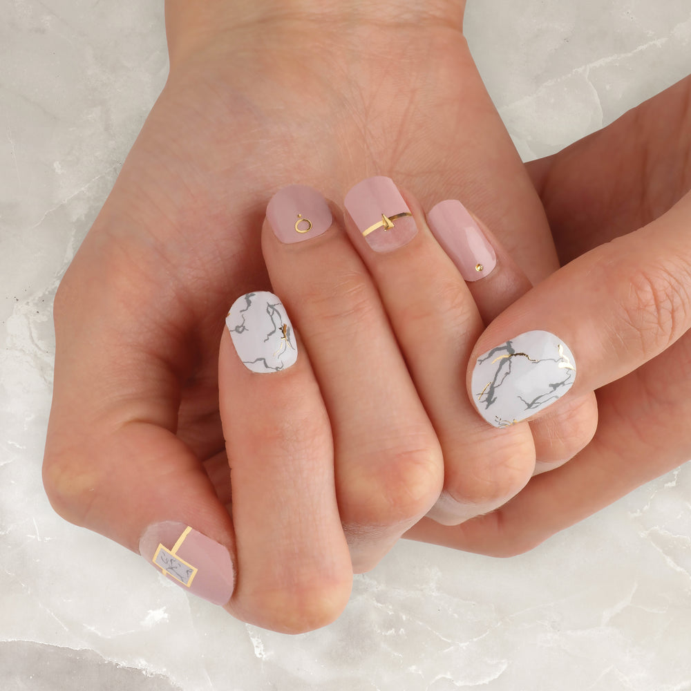 Pink Marble Insta Gel Nail Strips