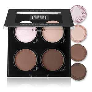 Dark contouring and highlighting kit in matte and shimmer formulations