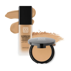 Nanacoco Professional HD Perfection Liquid and Powder Foundation Set- peach ivory