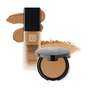 Nanacoco Professional HD Perfection Liquid and Powder Foundation Set- buff beige
