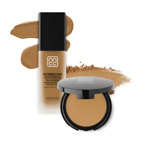 Nanacoco Professional HD Perfection Liquid and Powder Foundation Set-Golden Beige