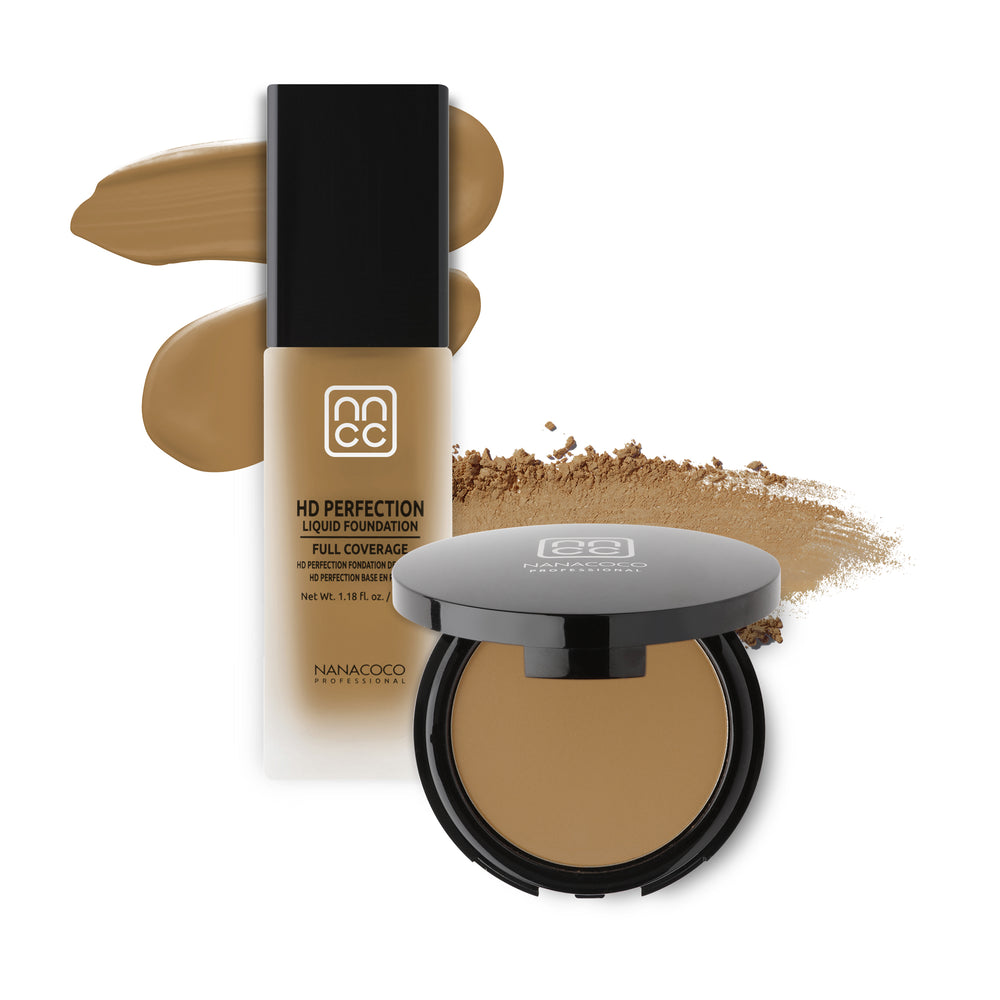 Nanacoco Professional HD Perfection Liquid and Powder Foundation Set- Classic Tan Set