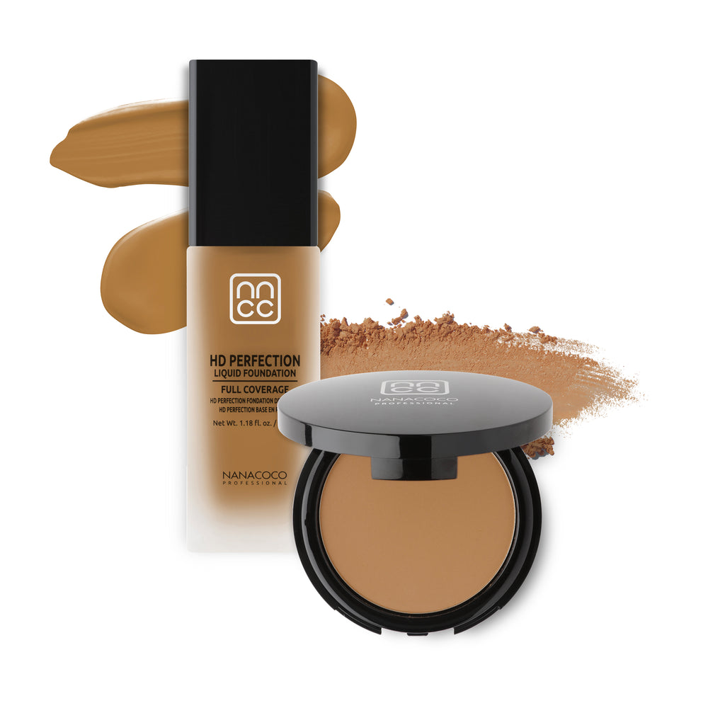 Nanacoco Professional HD Perfection Liquid and Powder Foundation Set-Honey Set