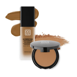 Nanacoco Professional HD Perfection Liquid and Powder Foundation Set-Caramel