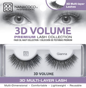 Eyelashes Premium 3D Volume black Gianna in packaging