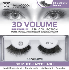 Eyelashes Premium 3D Volume black Olina in packaging