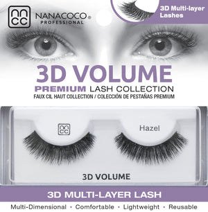 Eyelashes Premium 3D Volume black Hazel in packaging