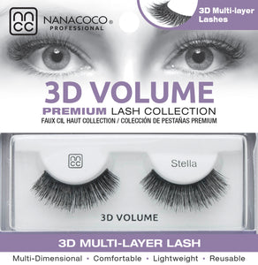 Eyelashes Premium 3D Volume black Stella in box