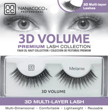 Load image into Gallery viewer, Eyelashes Premium 3D Volume black Melanie in packaging