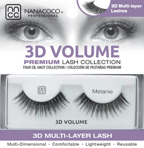Eyelashes Premium 3D Volume black Melanie in packaging