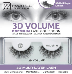 Eyelashes Premium 3D Volume black Angeline in packaging