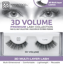 Load image into Gallery viewer, Eyelashes Premium 3D Volume black Luna in packaging