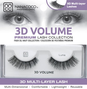 Eyelashes Premium 3D Volume black Luna in packaging