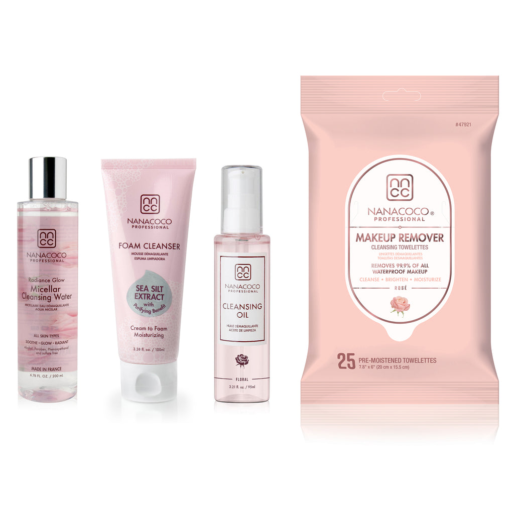 Radiance Glow Micellar Cleansing Water, Foam Cleanser, Cleansing Oil, and Makeup Removing Towelettes