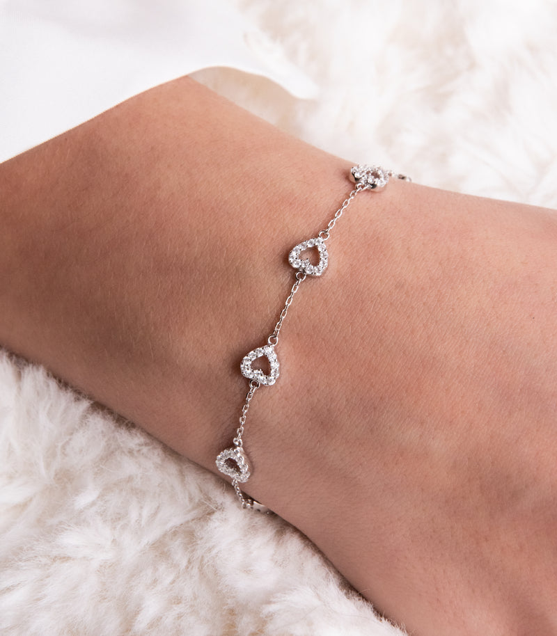 LIZZIE | HERZ SILBER ARMBAND | 925 STERLING SILBER