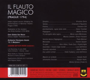 MOZART-DE GAMERRA: Il Flauto Magico (2 CDs, Original Italian Version, Prague 1794)
