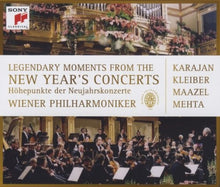 Load image into Gallery viewer, LEGENDARY MOMENTS FROM THE NEW YEAR'S CONCERTS : Karajan, Kleiber, Maazel, Mehta (3 CDS, 1 DVD)