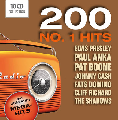 200 NUMBER 1 HITS - ELVIS, PAT BOONE, PAUL ANKA, JOHNNY CASH, FATS DOMINO AND MORE! (10 CDS)