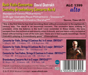 BACH: VIOLIN CONCERTOS 1-3; BRANDENBURG CONCERTO NO.4 - DAVID AND IGOR OISTRAKH