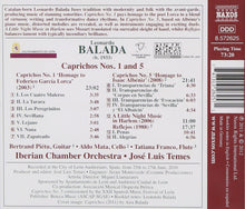 Load image into Gallery viewer, BALADA: CAPRICHOS 1 & 5 FOR GUITAR - MATA; PIETU; FRANCO; IBERIAN CHAMBER ORCHESTRA; TEMES