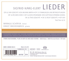 Load image into Gallery viewer, KARG-ELERT: Lieder (HYBRID SACD)