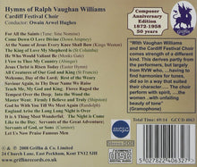 Load image into Gallery viewer, HYMNS OF RALPH VAUGHAN WILLIAMS - CARDIFF FESTIVAL CHOIR