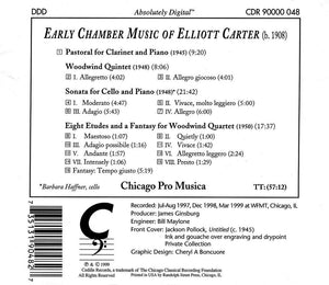 EARLY CHAMBER MUSIC OF ELLIOTT CARTER - CHICAGO PRO MUSICA