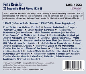 KREISLER: FAVORITE SHORT PIECES  - FRITZ KREISLER