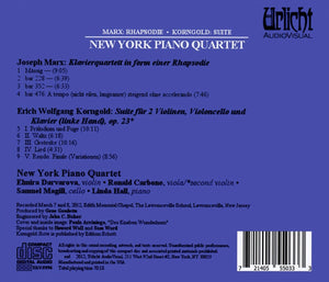 MARX & KORNGOLD - NEW YORK PIANO QUARTET