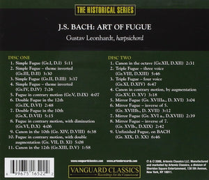 BACH, J.S.: ART OF FUGUE - GUSTAV LEONHARDT (2 CDS)