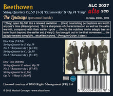 "Load image into Gallery viewer, BEETHOVEN: STRING QUARTETS, OP. 59 ""RAZUMOVSKY"", OP. 74 ""HARP"" - LINDSAY STRING QUARTET"