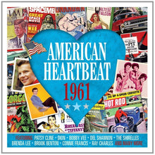Load image into Gallery viewer, AMERICAN HEARTBEAT 1961: Dion, Ray Charles, Jimmy Dean, Roy Orbison, Del Shannon, Jive Five and More (2 CDs)