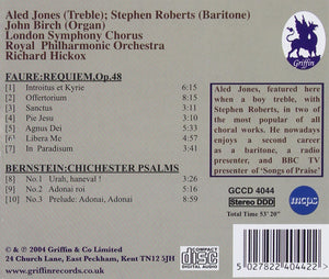 FAURE: REQUIEM; BERNSTEIN: CHICHESTER PSALMS - ALED JONES, ROYAL PHILHARMONIC