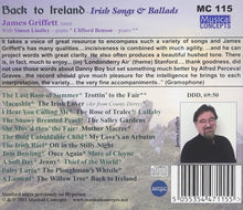 Load image into Gallery viewer, BACK TO IRELAND: IRISH SONGS & BALLADS FOR TENOR - JAMES GRIFFETT