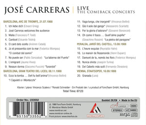 CARRERAS, JOSE: Live-The Comeback Concerts