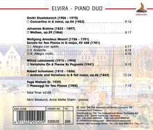 Load image into Gallery viewer, MUSIC FOR PIANO DUO BY BRAHMS, MOZART, SHOSTAKOVICH, SCHUMANN, NIELSEN, LUTOSLAWSKI: Elvira-Piano Duo