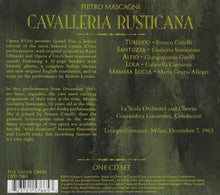Load image into Gallery viewer, MASCAGNI: CAVALLERIA RUSTICANA - SIMIONATO, LA SCALA ORCHESTRA AND CHORUS