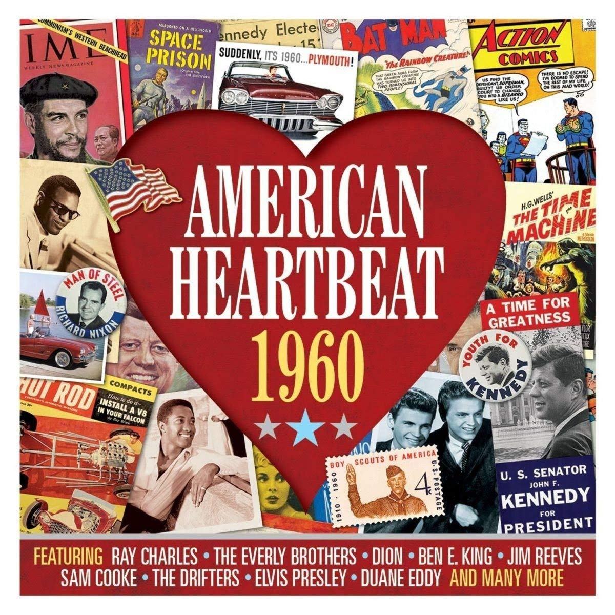 AMERICAN HEARTBEAT 1960: Ray Charles, Everly Brothers, Dion, Ben E.King, Jim Reeves, Drifters and More (2 CDS)