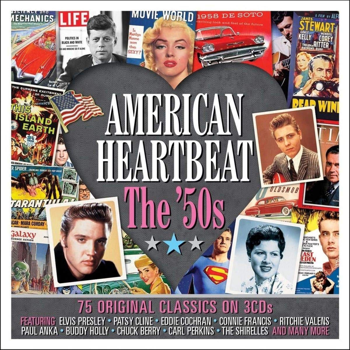 AMERICAN HEARTBEAT-THE 50'S : Patsy Cline,Connie Francis,Ritchie Valens,Paul Anka,Chuck Berry...