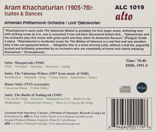 Load image into Gallery viewer, KHATCHATURIAN: SUITES & DANCES;  VALENCIAN WIDOW: MASQUERADE - ARMENIAN PHILHARMONIC, TJEKNAVORIAN