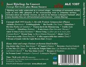 JUSSI BJORLING IN CONCERT (INCLUDING THE CLASSIC CARNEGIE HALL CONCERT)