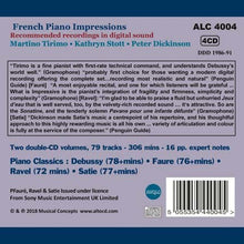 Load image into Gallery viewer, FRENCH PIANO IMPRESSIONS (DEBUSSY; FAURE; RAVEL) - STOTT, TIRIMO, DICKINSON (4 CDS)