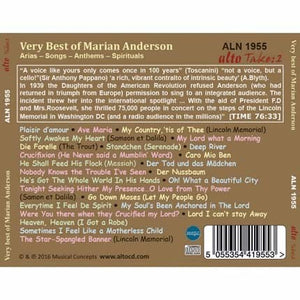 VERY BEST OF MARIAN ANDERSON - ARIAS, SONGS, ANTHEMS & SPIRITUALS