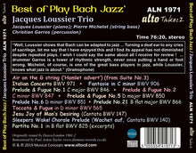 "Load image into Gallery viewer, BEST OF ""PLAY BACH"" JAZZ - JACQUES LOUSSIER TRIO"