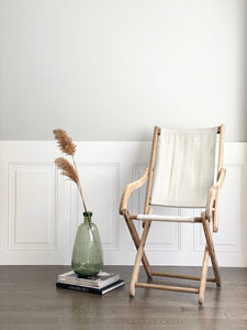 vintage bleached wood canvas chair