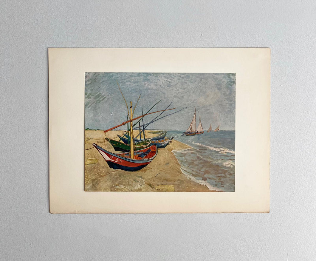 fishing boats on the beach at Saintes-Maries, van Gogh