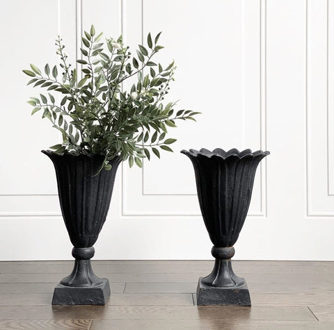 vintage cast iron vases, set of 2