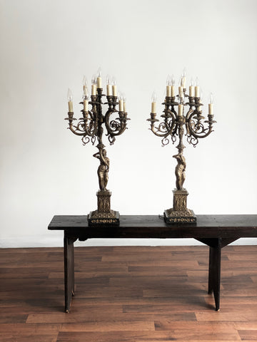 19th century French candelabra lamps